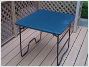 plastic products; built-in, camping table